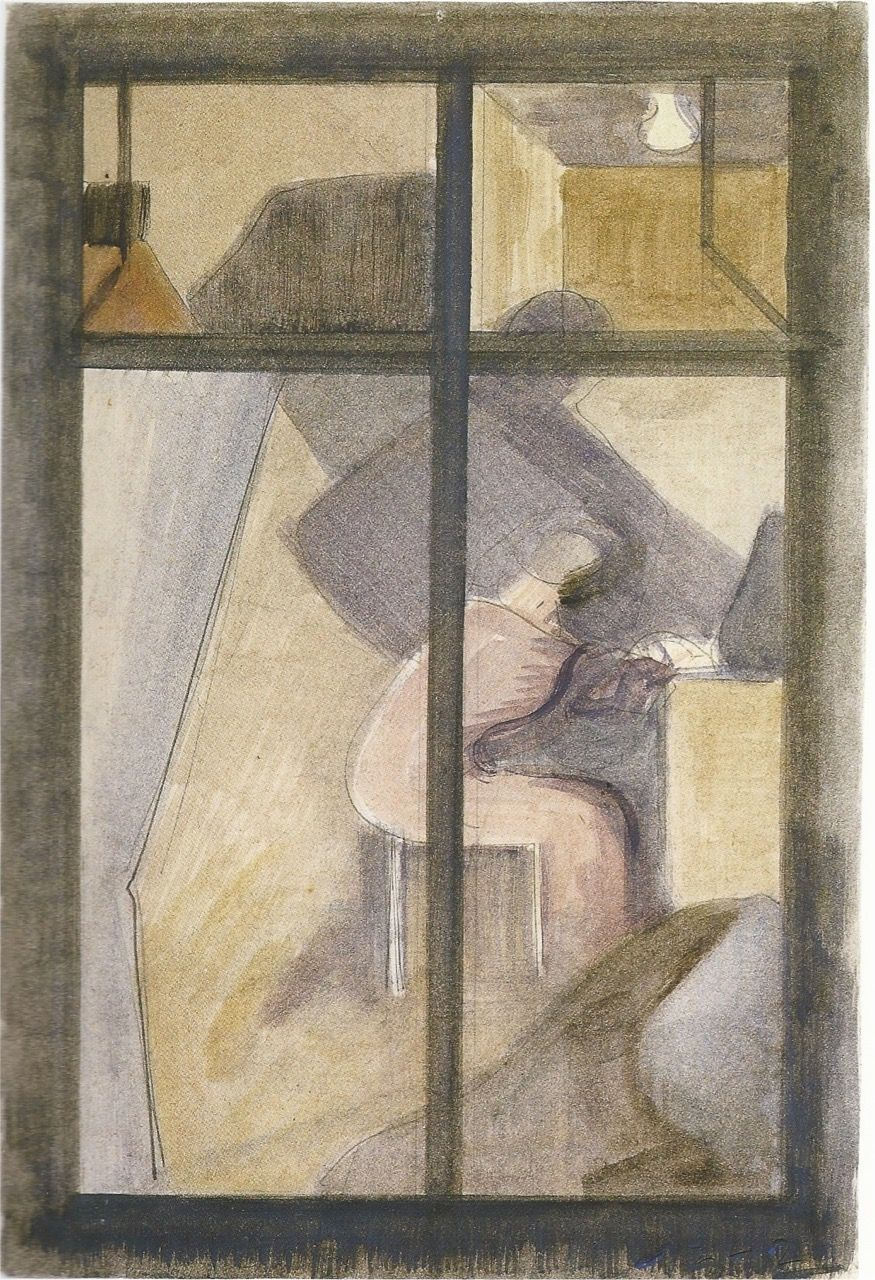 Oskar Schlemmer Room with a figure sitting in the purple shade 1942 Oil and pencil on cardboard 30.6 x 20.7 cm